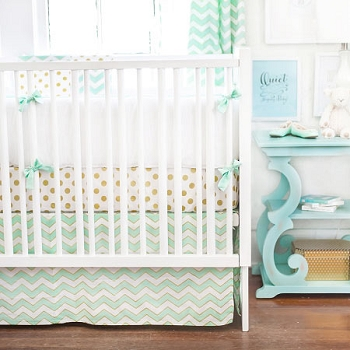 Gold & Mint Baby Bedding  |  Gold Rush in Mist Crib Collection