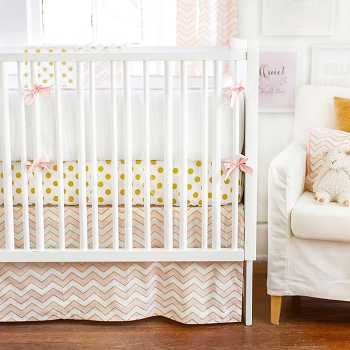 Gold & Pink Baby Bedding  |  Gold Rush in Pink Crib Collection