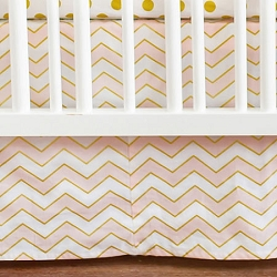 Gold and Pink Crib Skirt | Gold Rush in Pink Crib Collection