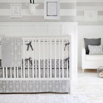 Neutral Gray Arrow Crib Bedding | Wanderlust Collection