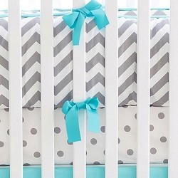 Gray & Aqua Chevron Crib Bedding