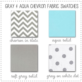 Gray and Aqua Chevron Collection Fabric Swatches Only