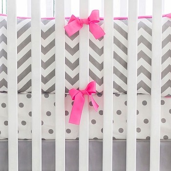 Hot Pink and Gray Chevron Crib Bedding | Chevron Nursery Collection
