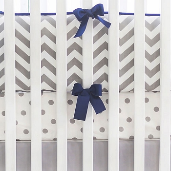 Gray & Navy Chevron Crib Bedding