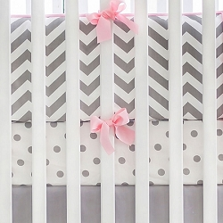 Gray and Pink Chevron Crib Bedding | Chevron Collection