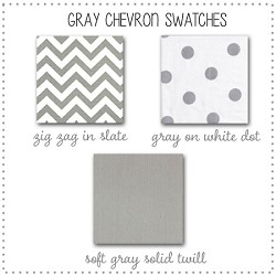 Gray Chevron Crib Bedding Collection Fabric Swatches Only