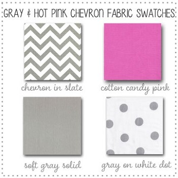 Gray and Hot Pink Chevron Bedding Collection Fabric Swatches Only