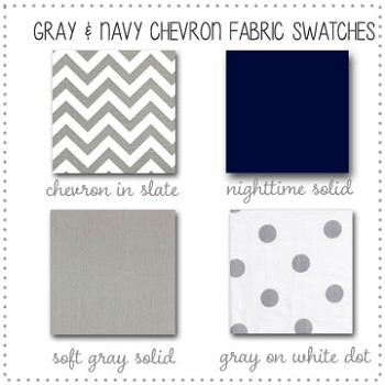 Gray and Navy Chevron Bedding Collection Fabric Swatches Only