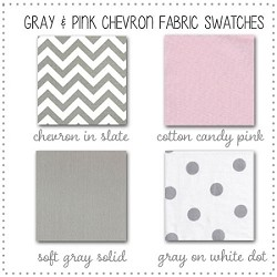 Gray and Pink Chevron Bedding Collection Fabric Swatches Only