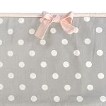 Gray Polka Dot Crib Bumper with Pink Trim