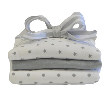 Gray Stars Burp Cloth Set | Washed Linen in Gray Crib Collection