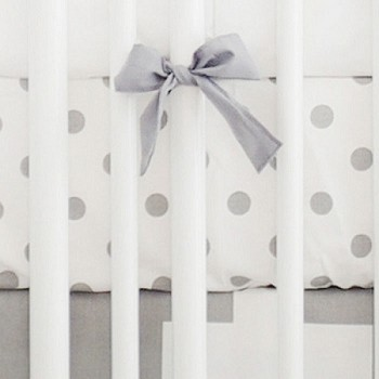 White & Gray Cotton Polka Dot Crib Sheet