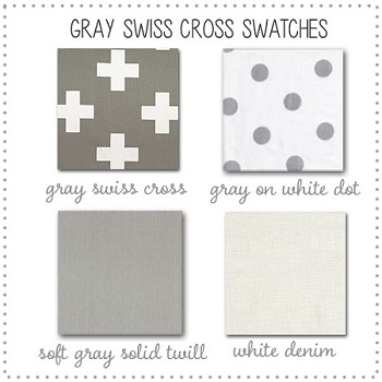 Gray Swiss Cross Crib Bedding Collection Fabric Swatches Only