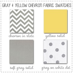 Gray and Yellow Chevron Collection Fabric Swatches Only