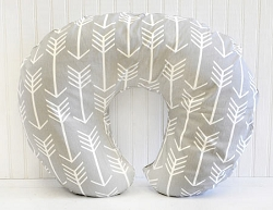 Gray Arrow Nursing Pillow Cover  |  Wanderlust in Gray Crib Collection