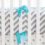 Gray and Aqua Chevron Crib Bumper