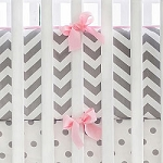 Gray and Pink Chevron Crib Bumper
