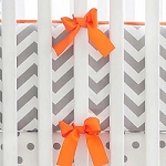 Gray and Orange Chevron Crib Bumper