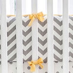 Gray and Yellow Chevron Crib Bumper