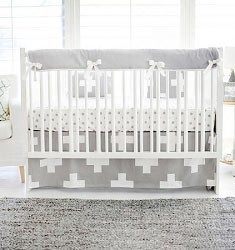 Gray Swiss Cross Crib Rail Guard  |   Gray Swiss Cross Crib Collection