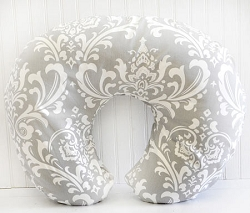 Gray and White Damask Nursing Pillow Cover