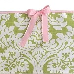 Green Damask Crib Bumper with Pink Trim & Pink Scalloped Ties