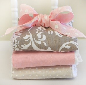 Damask Burp Cloths | Halle Damask Crib Collection