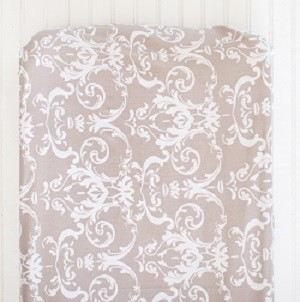 Damask Changing Pad Cover | Halle Damask Crib Collection