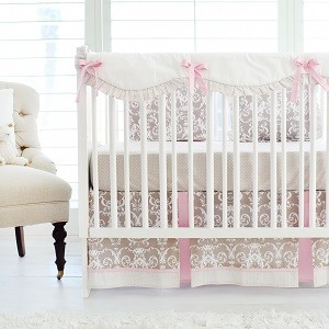 Damask Crib Rail Cover Set  | Halle Damask Bumperless Crib Collection
