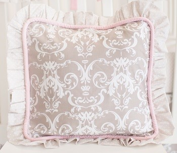 Pink and Gray Damask Pillow | Halle Damask Crib Collection