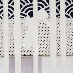 Navy Polka Dot Crib Sheet