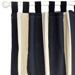 Khaki & Navy Stripe Curtain Panels  |  Happy Camper Crib Collection