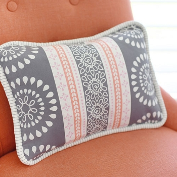 Coral and Gray Pillow  |  Harper in Coral Crib Collection