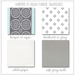 Harper in Aqua Crib Collection Fabric Swatches Only
