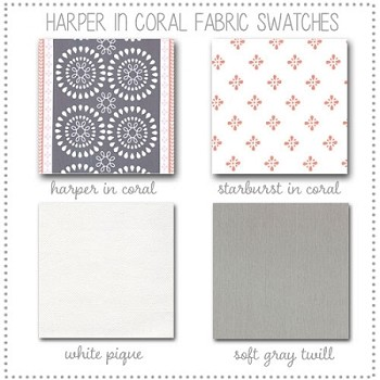 Harper in Coral Crib Collection Fabric Swatches Only