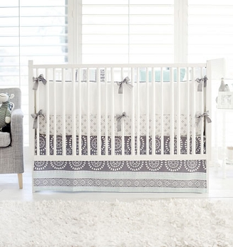 Aqua and Gray Baby Bedding | Harper in Aqua Collection