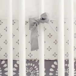 Gray Crib Sheet | Harper in Aqua Collection