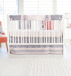 Gray and Coral Nursery Rail Guard Set | Harper in Coral Collection