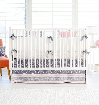 Gray and Coral Baby Bedding | Harper in Coral Collection