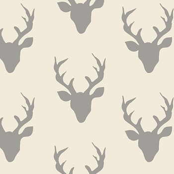 Gray Deer Head Fabric | Art Gallery Buck Forest Silver Fabric