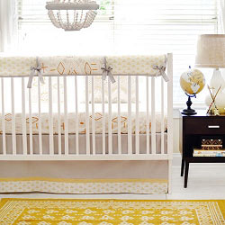Gold & Gray Tribal Crib Rail Guard Set | Head West Crib  Collection
