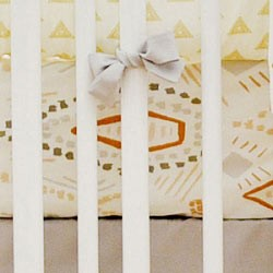 Gold & Gray Tribal Crib Sheet | Head West Crib Collection