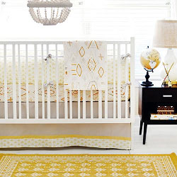 Gray & Gold Tribal Baby Bedding | Head West Crib Collection