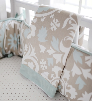 Khaki and Aqua Baby Blanket | Picket Fence Crib Collection
