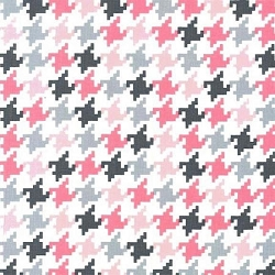 Pink & Gray Houndstooth Fabric | X6363-BLOM-D EVERYDAY HOUNDSTOOTH BLOOM