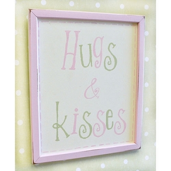 Vintage Wall Sign - Hugs & Kisses