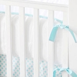 Aqua & White Crib Bumper  |  Indigo Summer Crib Collection
