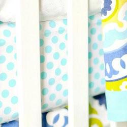 Aqua Polka Dot Crib Sheet | Indigo Summer Collection