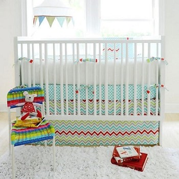 Aqua Chevron Baby Bedding  |  Jellybean Parade Crib Collection