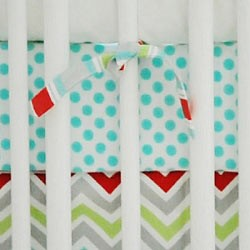 Aqua Polka Dot Crib Sheet  |  Jellybean Parade Collection